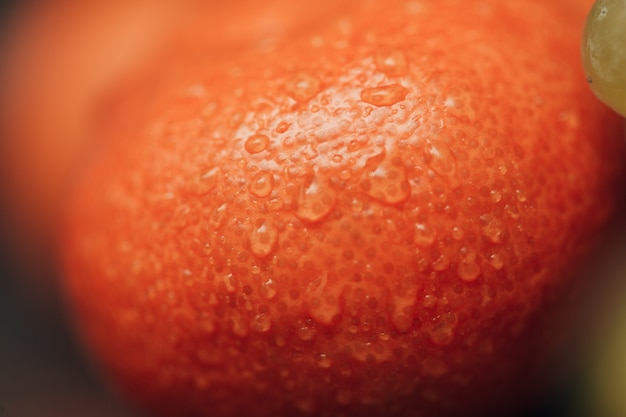 Oranges close up with small water droplets on the peel