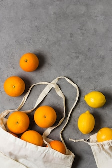 Oranges for healthy and relaxed mind copy space