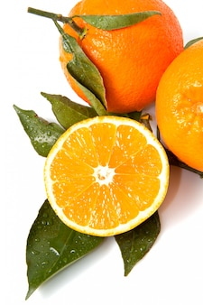 Oranges with leaves, natural fruit