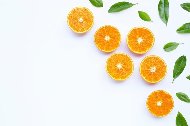 흰 벽에 잎 오렌지입니다.