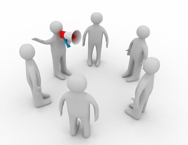 Оратор говорит в мегафон
