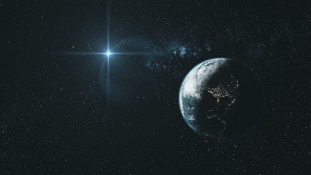 Orbit earth in  deep space with star