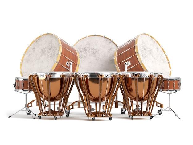 오케스트라 드럼 흰색 절연