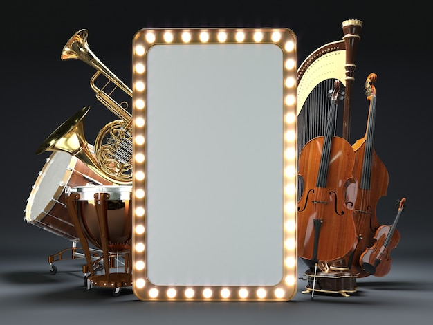 Orchestra musical instruments d rendering
