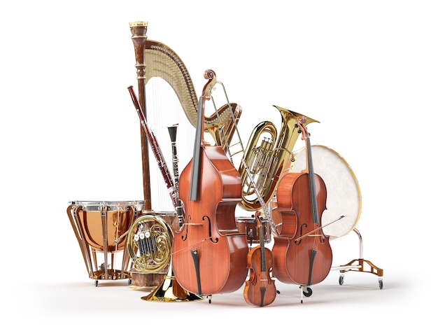 Orchestra musical instruments isolated