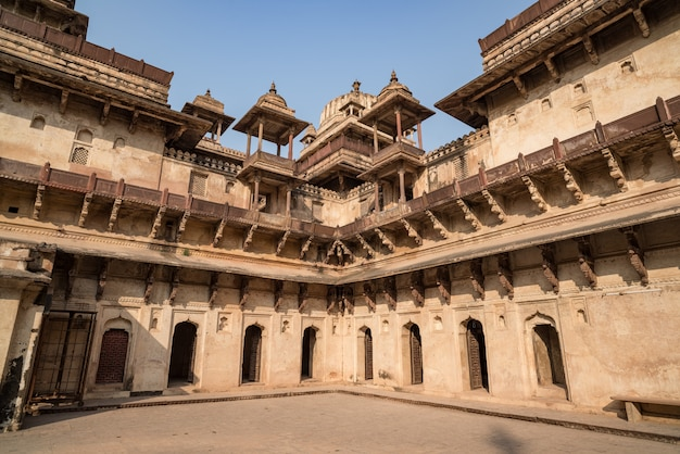 Orchha palace, interior with courtyard and stone carvings, backlight. also spelled orcha.