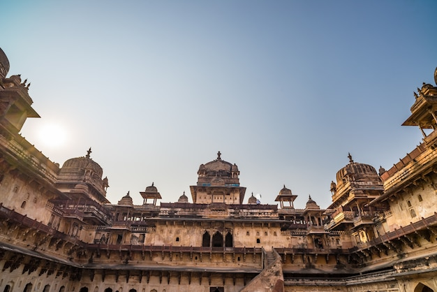 Orchha palace, interior with courtyard and stone carvings