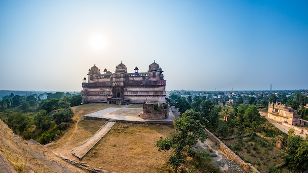 Orchha palace, madhya pradesh. famous travel destination in india. wide angle.