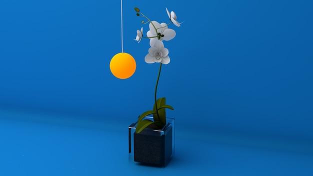 파란색 배경에 난초 꽃