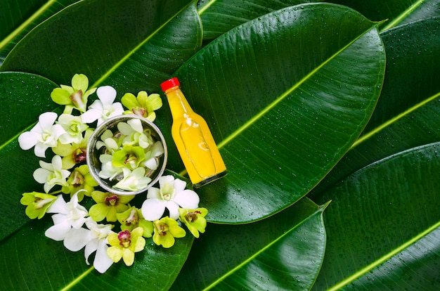 緑の葉に伝統的な香りの水のボトルを水鉢に飾る蘭の花