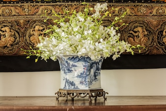 Orchid in  Chinese pattern  vase