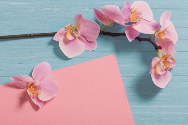 青い木製の背景に蘭