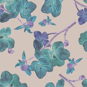 난초 꽃 이국적인 수채화 handdrawn 그림