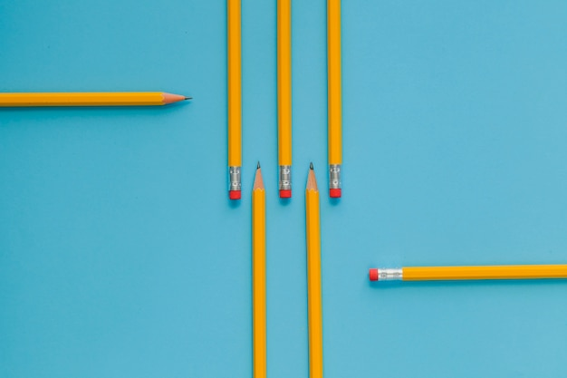 Ordered yellow pencils on blue