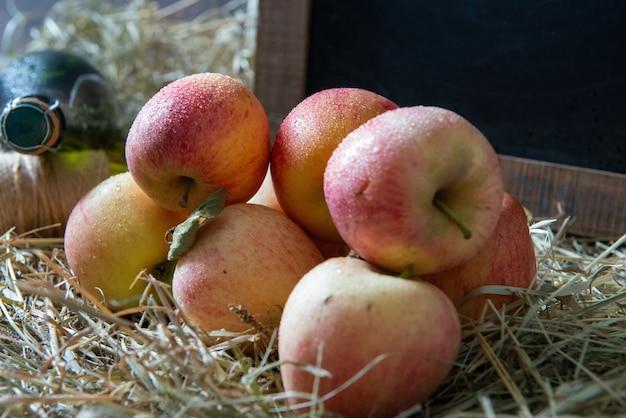 Organic apples on the straw