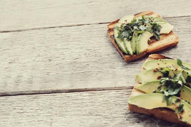 Organic avocado sandwich