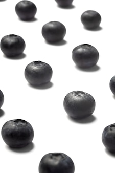 Organic blueberry pattern with shadow isolate on white background