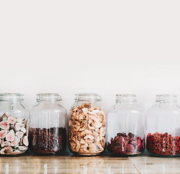 Organic bulk products in zero waste shop foods storage in kitchen at low waste lifestyle