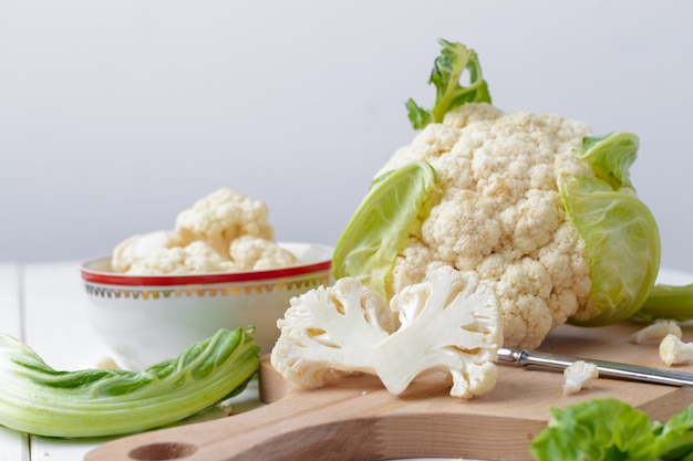 Organic cauliflower on wooden