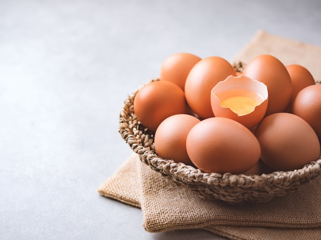 Organic chicken eggs food ingredients concept