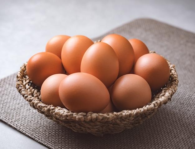 Organic chicken eggs food ingredients concept