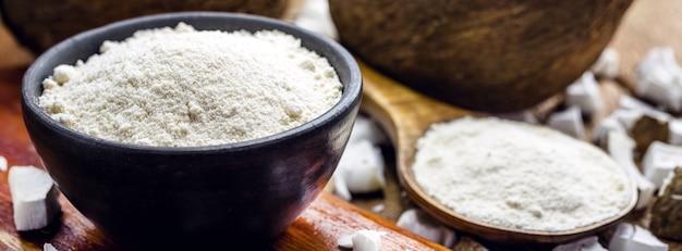 Органическая кокосовая мука из натуральных продуктов, без глютена, домашняя, веганский кулинарный ингредиент