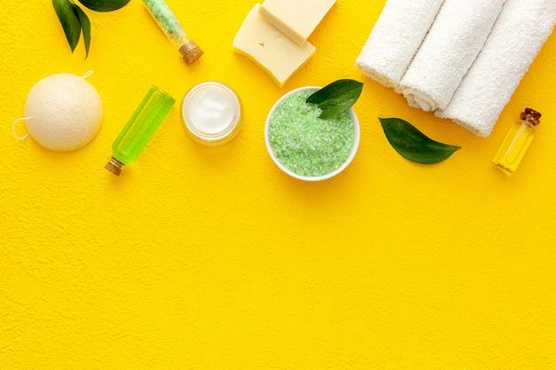 Organic cosmetic set with tea olive leaves and sea salt
