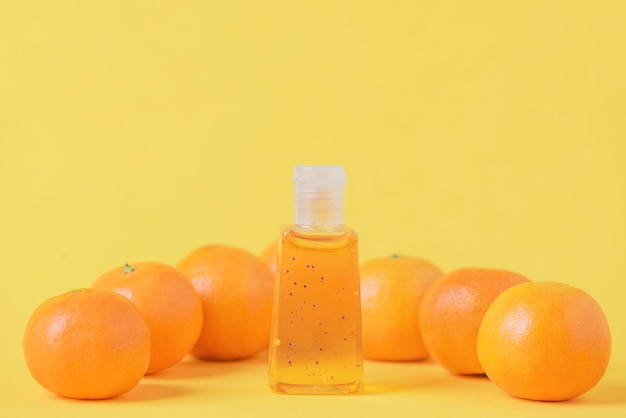 Organic cosmetics with citrus extract. facial cleansing set with orange or mandarin extract