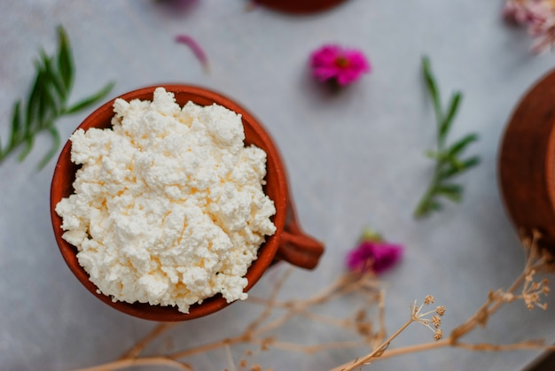 Organic cottage cheese in a crock