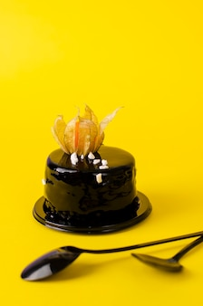 Organic deep dark chocolate cake decorated with physalis on yellow .