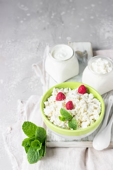 Organic farming cottage cheese, sour cream and milk