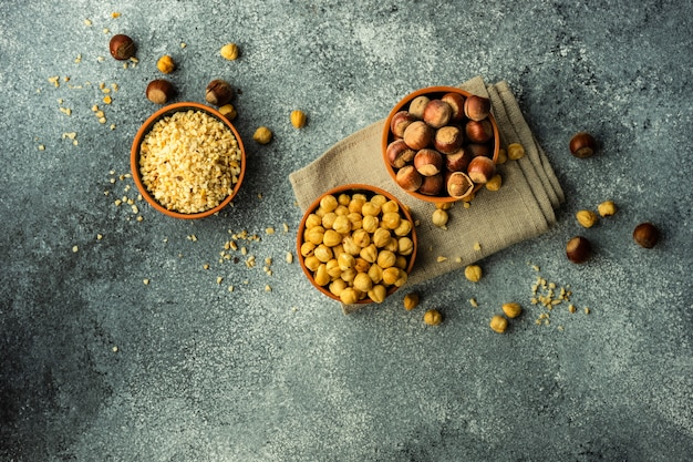 Organic food concept with nuts