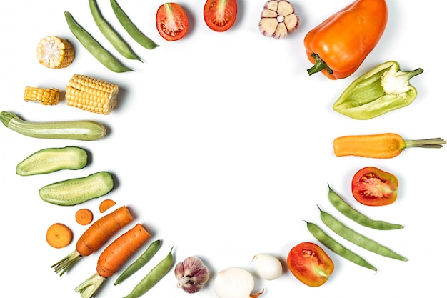 Organic food frame background. flat lay, top view, copy space. healthy eating concept.