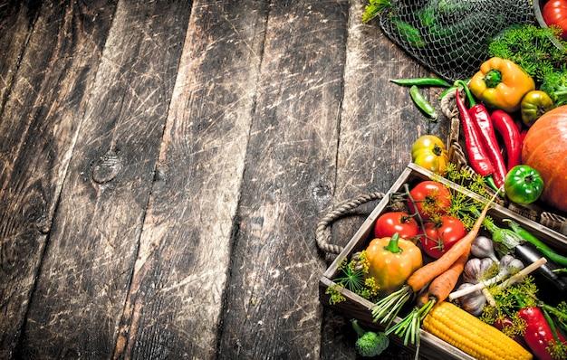 유기농 식품 나무 배경에 야채의 신선한 수확