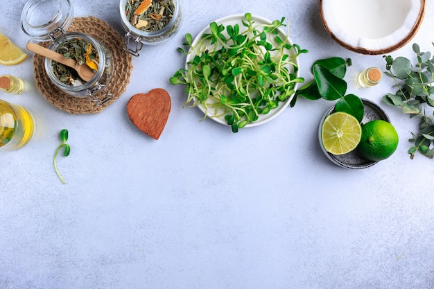 Organic food herbs coconut lime top view