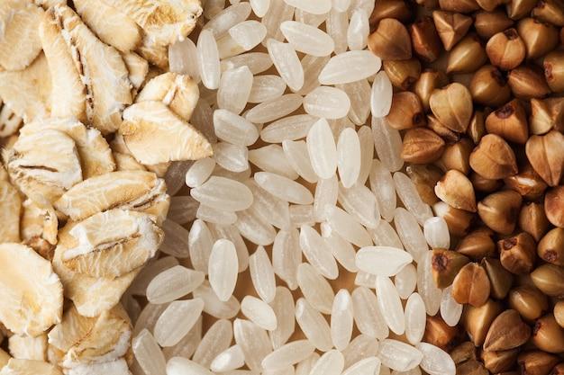Organic food shot of oatmeal white rice and buckwheat