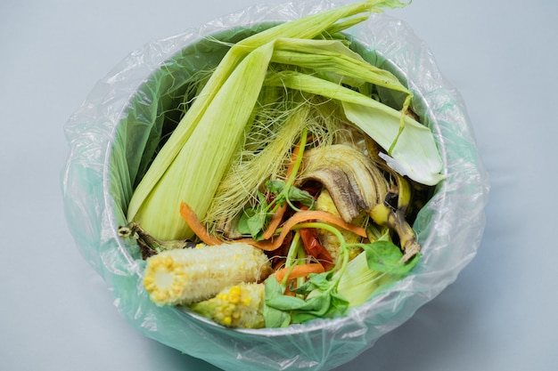 Organic food wastes in a bucket, shot from above.