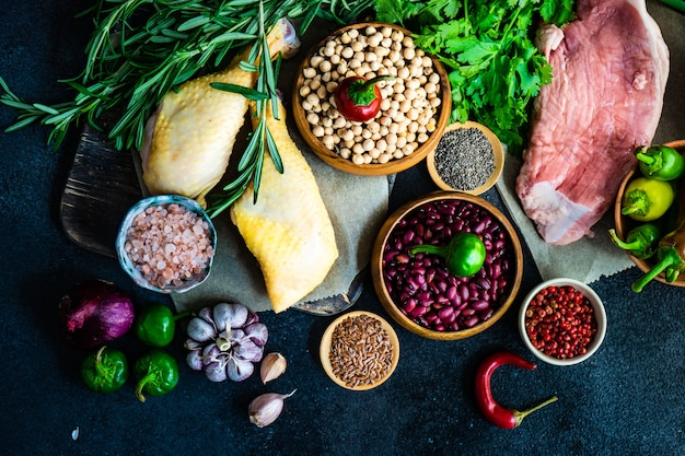Organic food with meat and cereals
