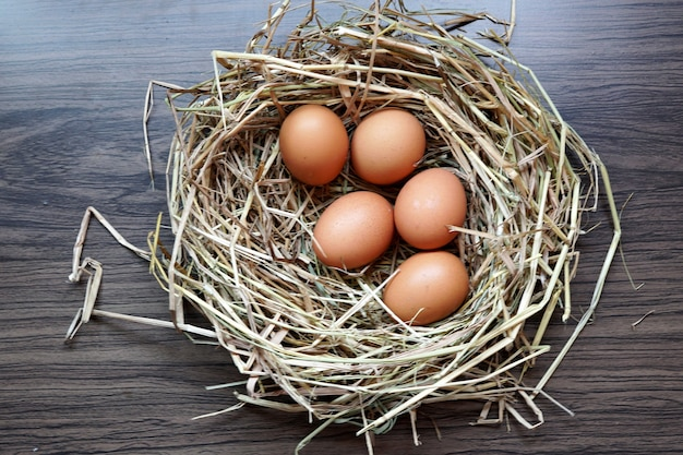 Organic fresh eggs in a brown nest on a wooden table