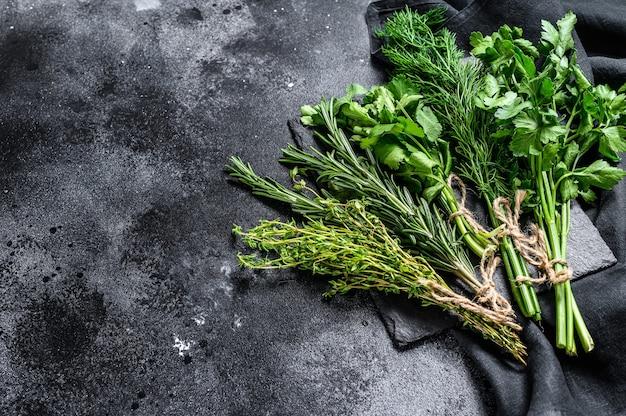Organic fresh herbs coriander, rosemary, thyme, dill, parsley
