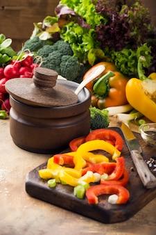 Organic fresh raw colorful vegetables