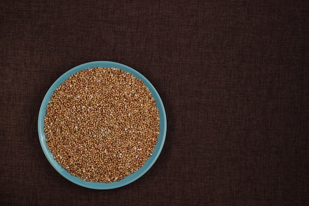 Organic green buckwheat with copy space for recipe