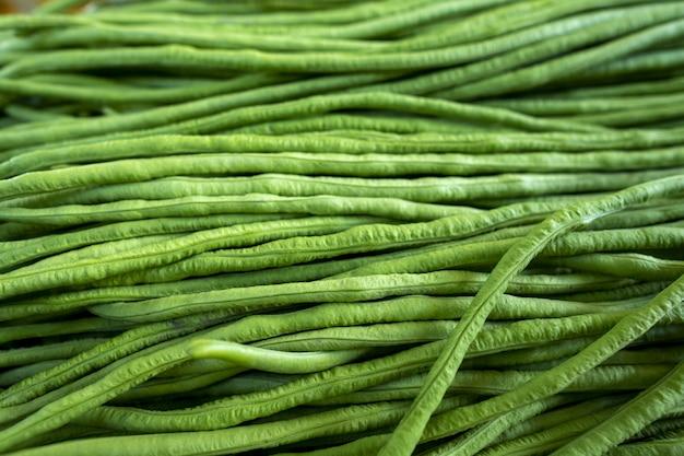 クローズアップショットで有機グリーンヤードロング豆。