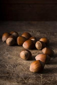 Organic hazelnuts on the table