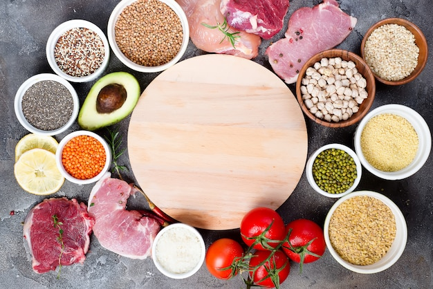 Organic healthy food clean eating selection including certain protein prevents cancer