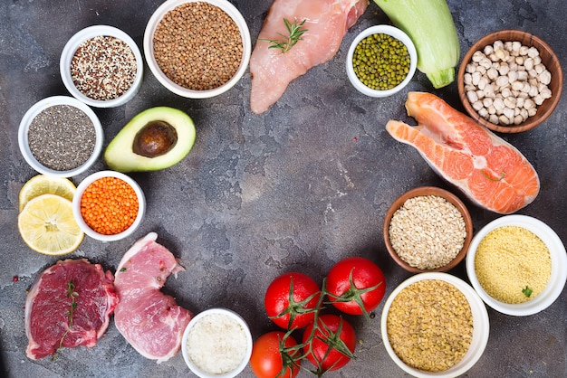 Organic healthy food clean eating selection including certain protein prevents