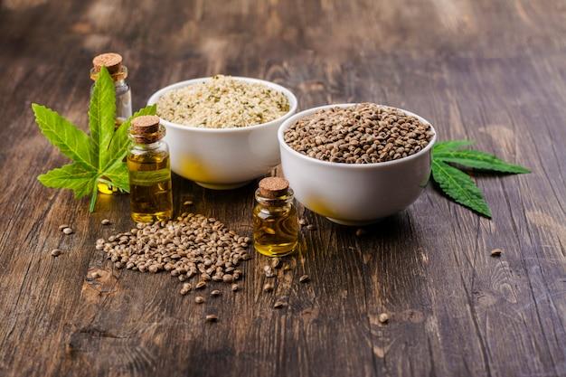 有機大麻の種子と油