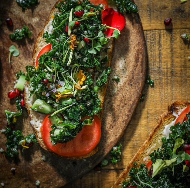Organic homemade kale toast for lunch