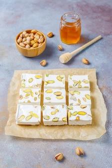 Organic homemade nougat made with honey, pistachio