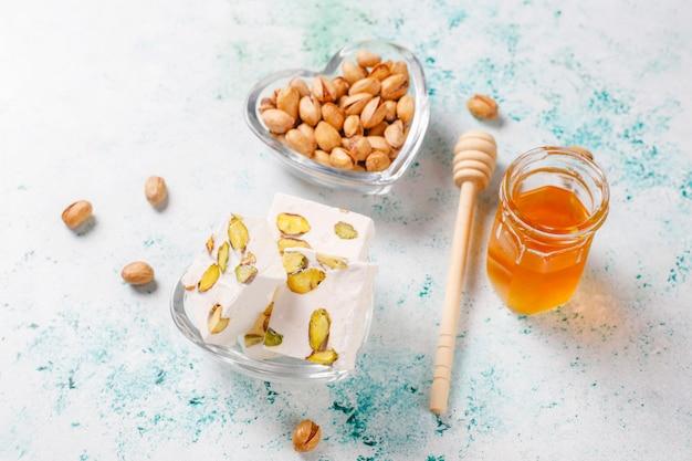 Organic homemade nougat made with honey, pistachio,